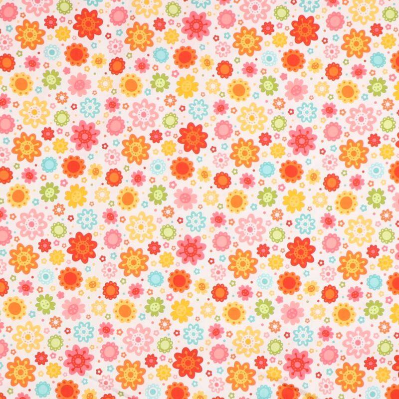 Patchwork - Blomster på hvid -