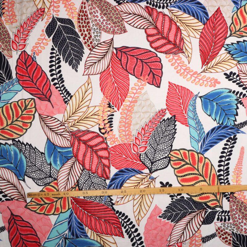 Farverige blade på hvid - Viskose Jersey -