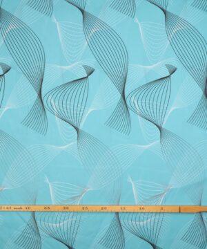 Bølgemønster i sort/hvid på turkis - Bade/bruseforhæng -