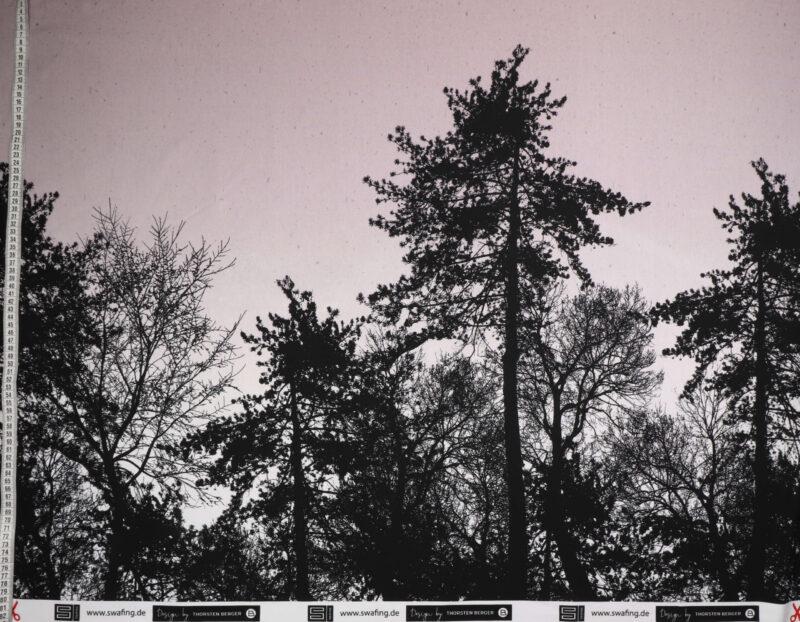 Sorte træer på lys lavendel - French Terry -