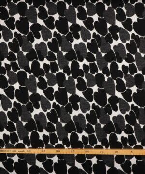 Sort/ hvid m. hjerter - Polyester -