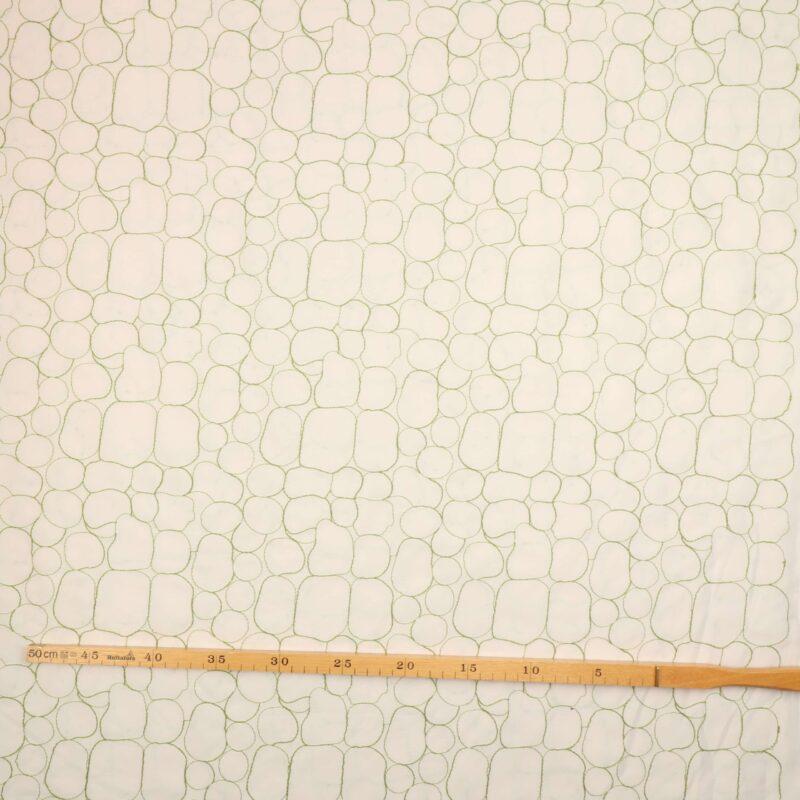 Hvid m. grønt - Bade/bruseforhæng -