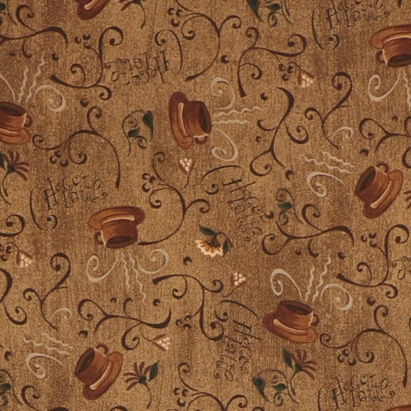 Patchwork - Kop og tekst på brun -