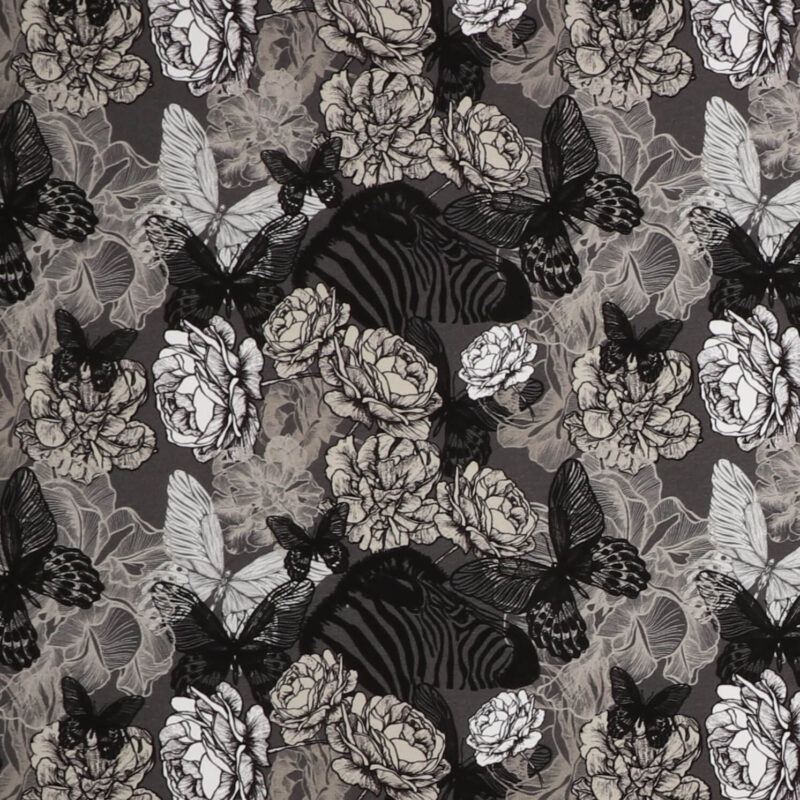 Zebra og blomster i grå nuancer - Jersey -