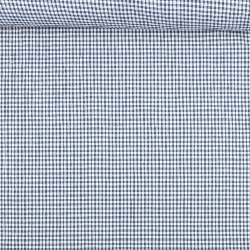 Seersucker i blå/hvid - Bomuld/polyester m. stræk -