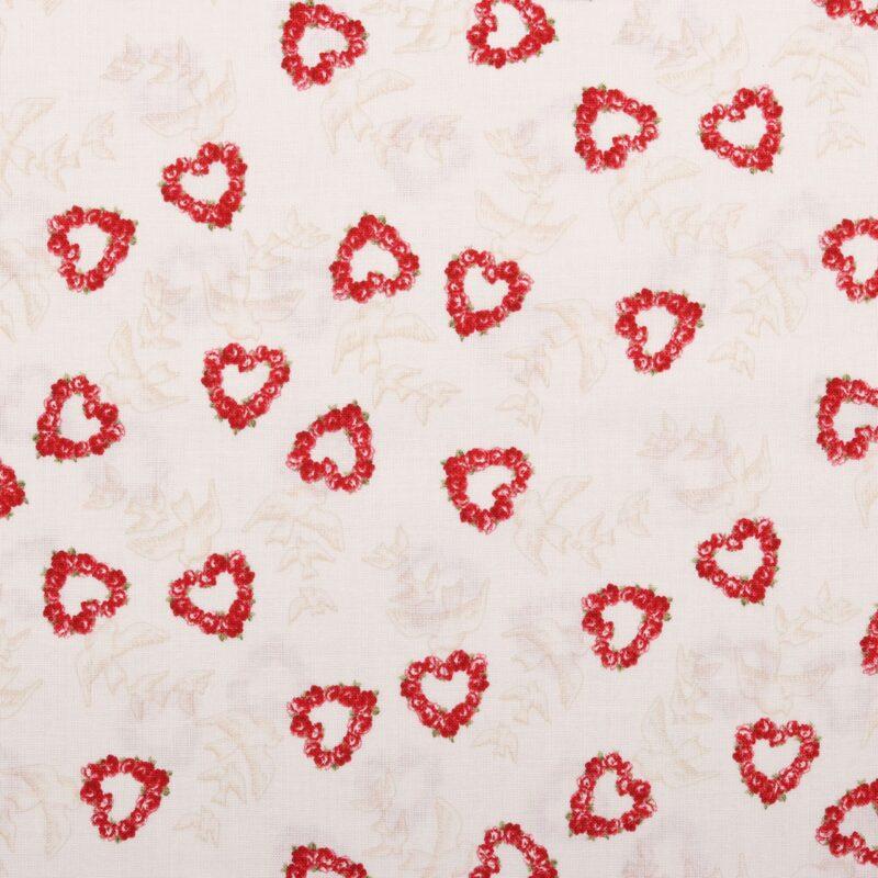 Hvid med rosenhjerter og duer - Patchwork -