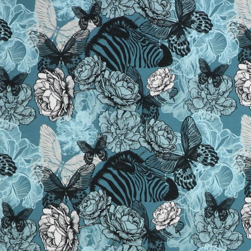 Zebra og blomster i turkis nuancer - Jersey -