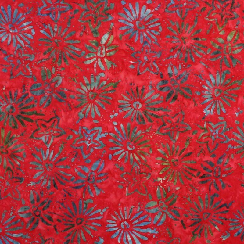 Blomster på rød - Bali -