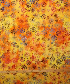 Gul/orange m. blomster - Bali -