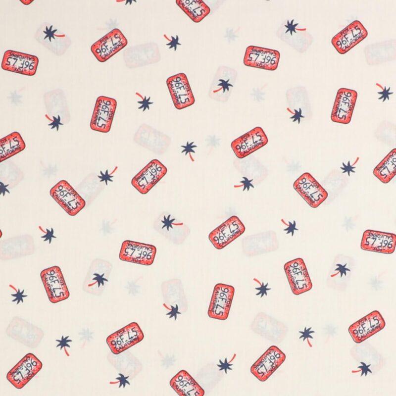 Pink nummereplade på hvid - Bomuld/polyester -