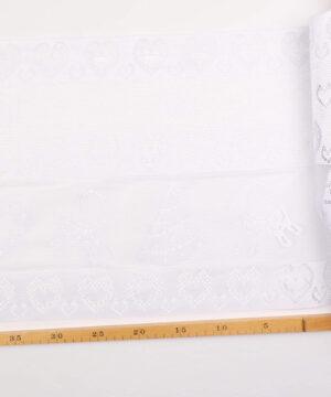 Cafégardin, hvid m. julemotiv - 35 cm høj -