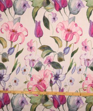 Lyserøde/lilla blomster - Jersey (Gots certificeret) -