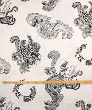 Sort stort mønster på hvid - Bomuld -