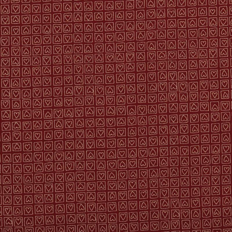 Rødbrun m. hjerter i boks - Patchwork -