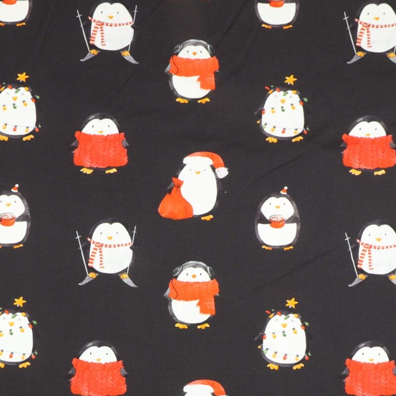Jule pingviner på sort - Jersey -