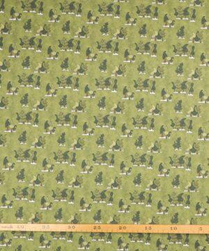 Winter Fun, træer på meleret grøn - Patchwork -