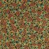 Patchwork - Petrol/rød/lys brunt mønster m. guldkant på mørkegrøn -