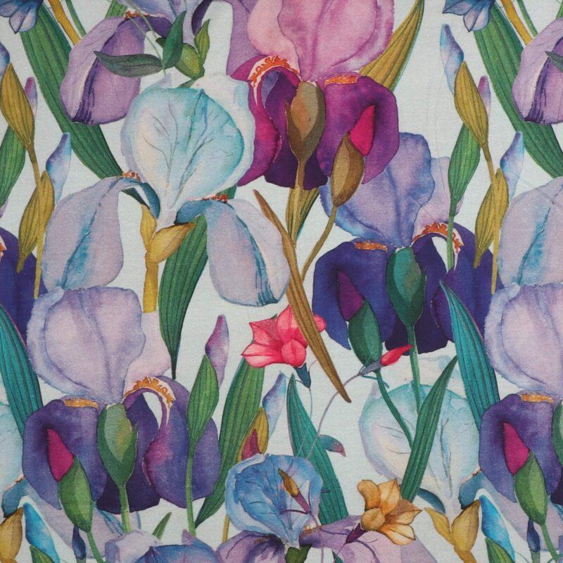 Blomster og blade på lys mintfarvet bund - Jersey (Gots certificeret) -