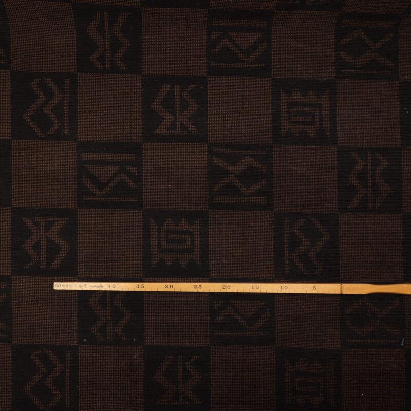 Mørkebrun/brunt mønster - Møbelstof -