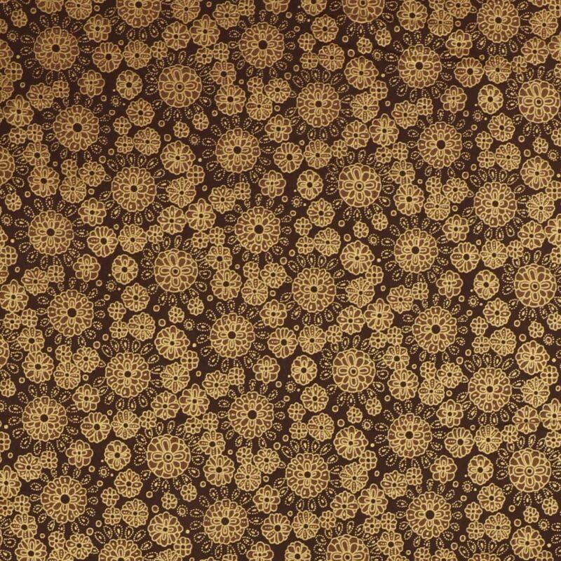Mønster m. gylden kant på mørkebrun - Patchwork -