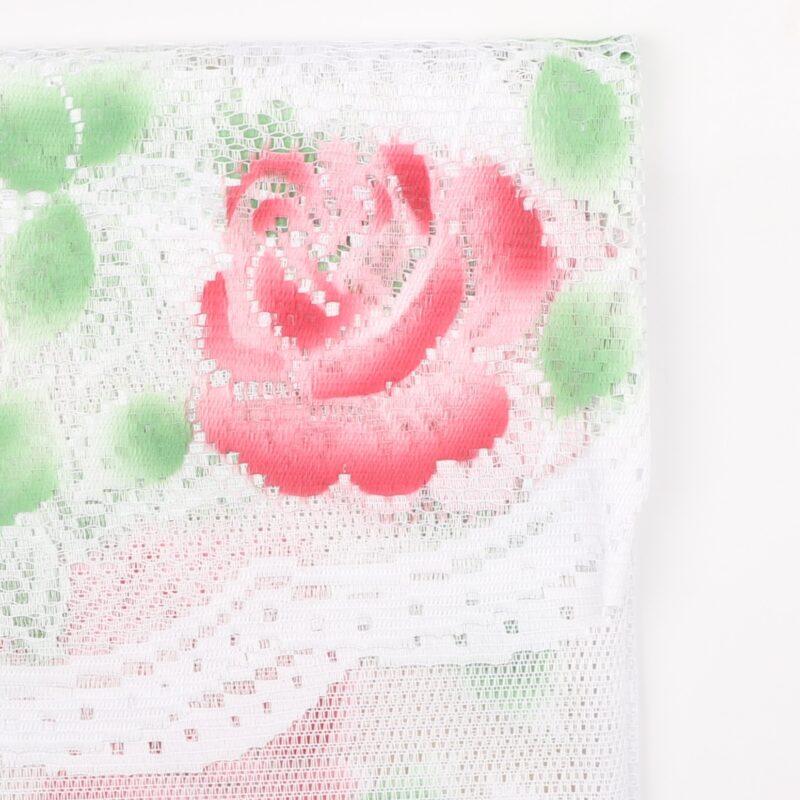 Cafégardin, rød blomst -