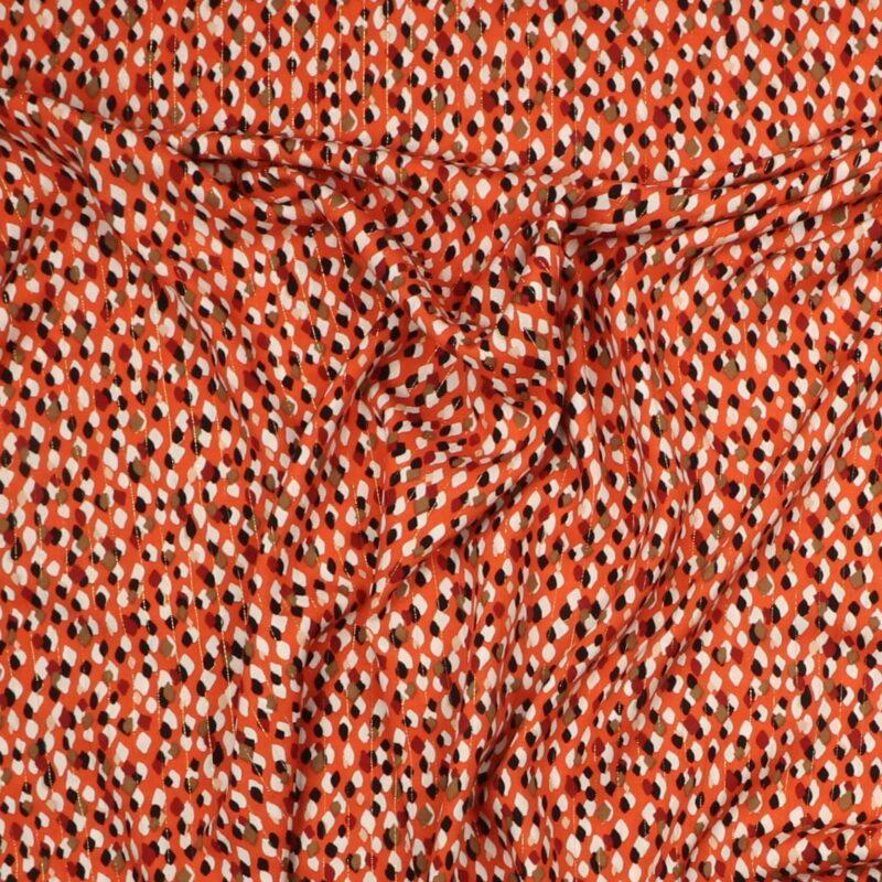 Guldtråd og brændt orange m. mønster - Rayon -