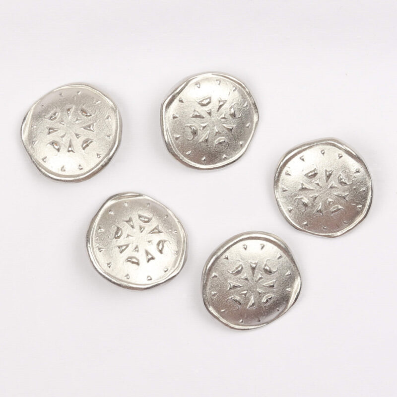 Sølv m. mønster, 28 mm -