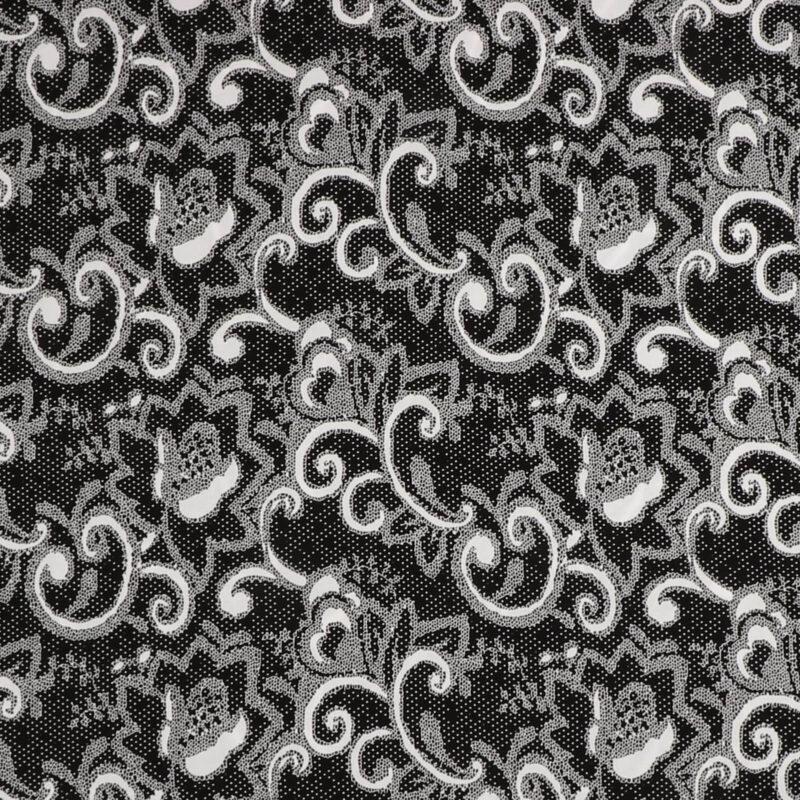 Sort og hvidt mønster - Viskose -