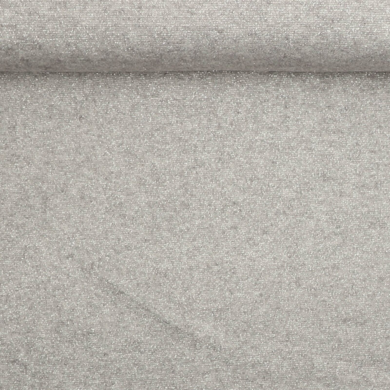 Tynd strik i sølvgrå med sølvtråd - Strik Jersey -