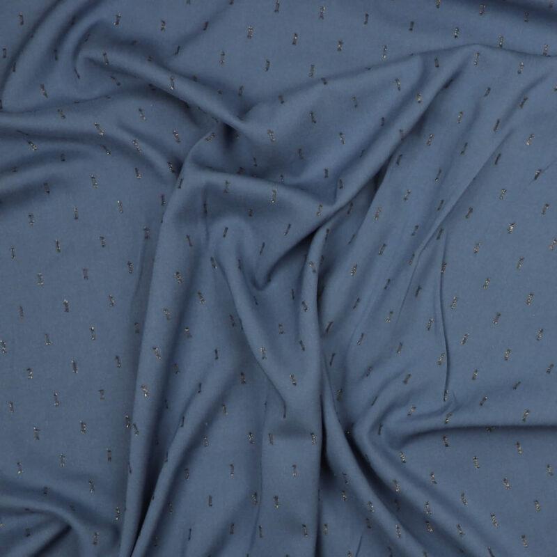 Jeansblå med lidt guldbling - Rayon -