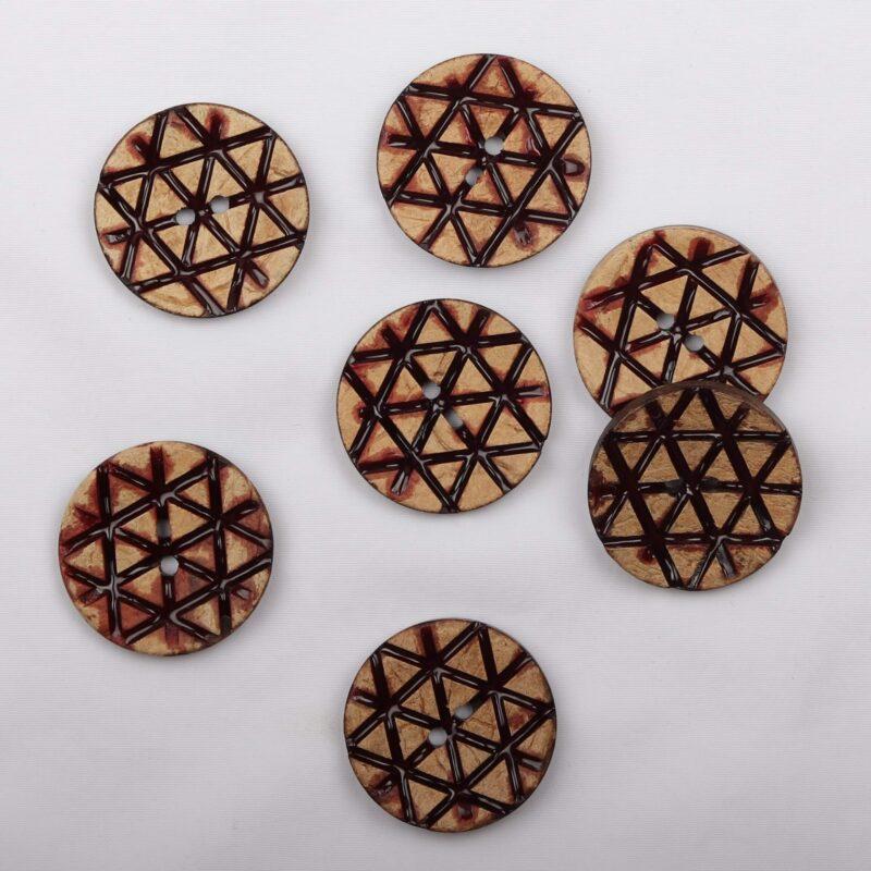 Trekantet mønster, ø 28 mm kokosknap -