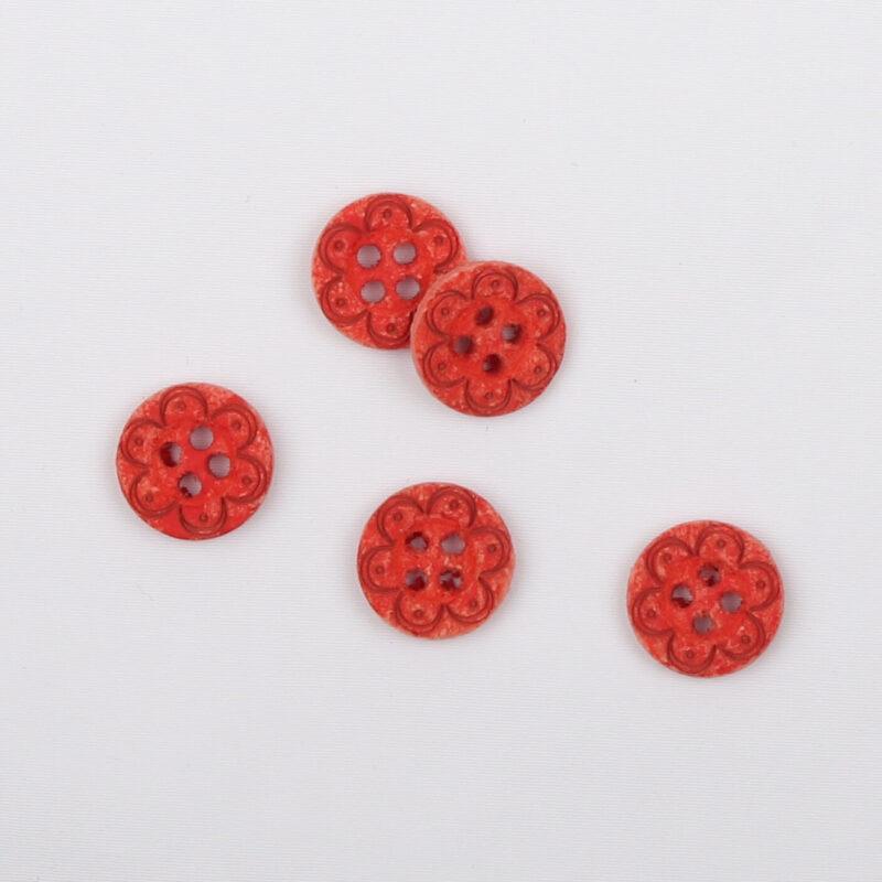 Rød m. præget blomst, ø 12 mm -
