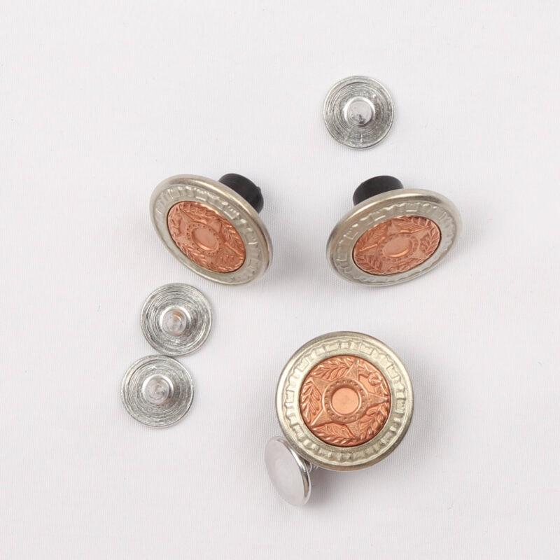 Patentknapper 15 mm, sølv/kobber (10 stk) -