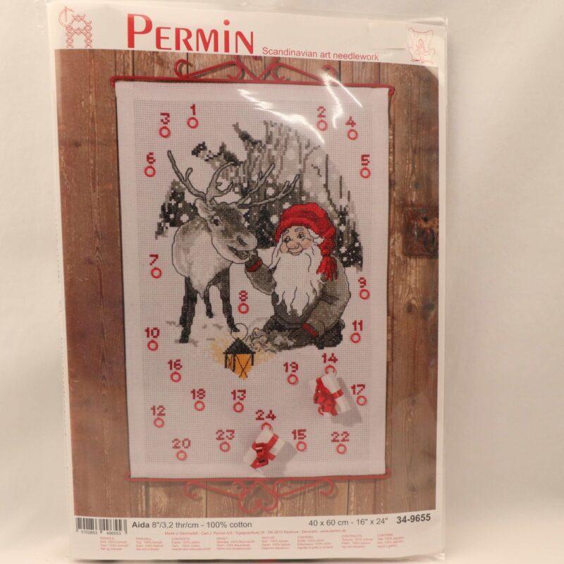 Broderi Kit - kalender m. julemand, 40x60 cm -