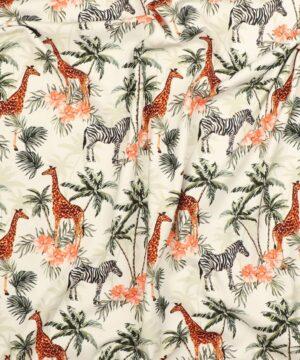 Giraffer, zebra, palmer og blomster - Jersey -