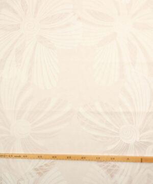 Hvid m. transparente blomster - Bade/bruseforhæng -