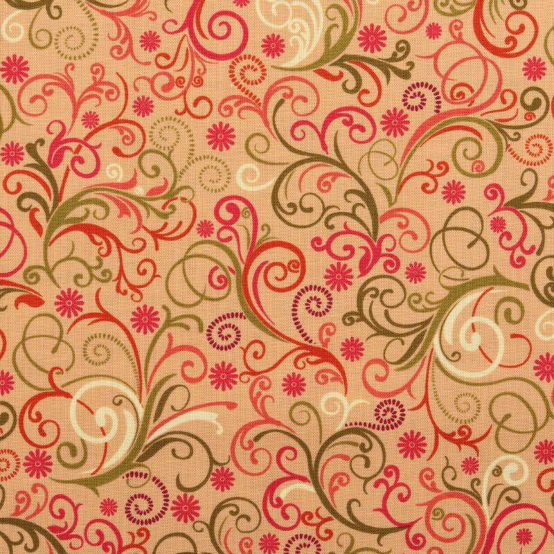 Patchwork - Snerler på lys brun bundfarve - Info mangler