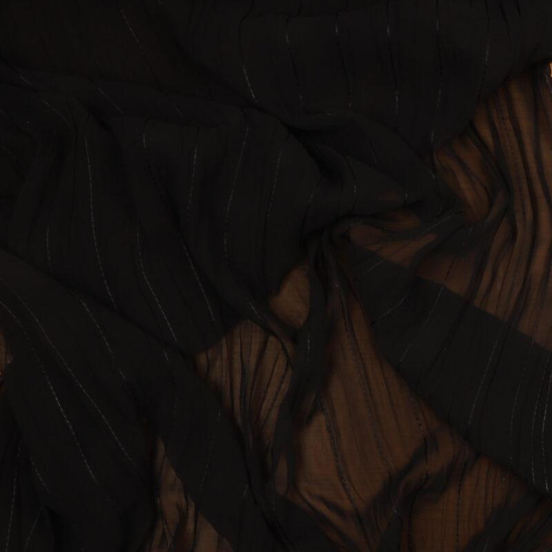 Sort med blank smal stribe - Chiffon, polyester -