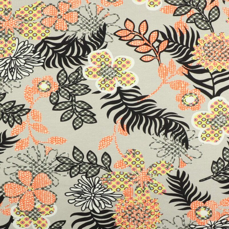 Blomster på grå - Jersey -
