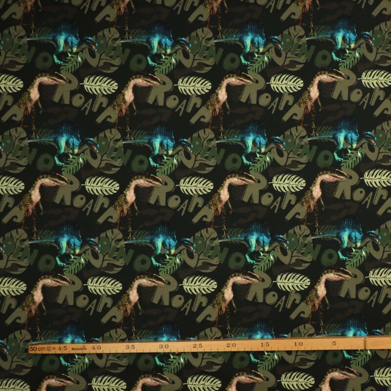 Dinosauer på mørkegrøn - French Terry -