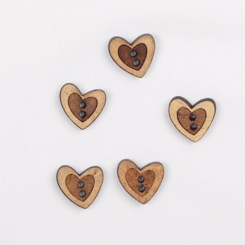 Hjerte - kokosknap 12 mm -