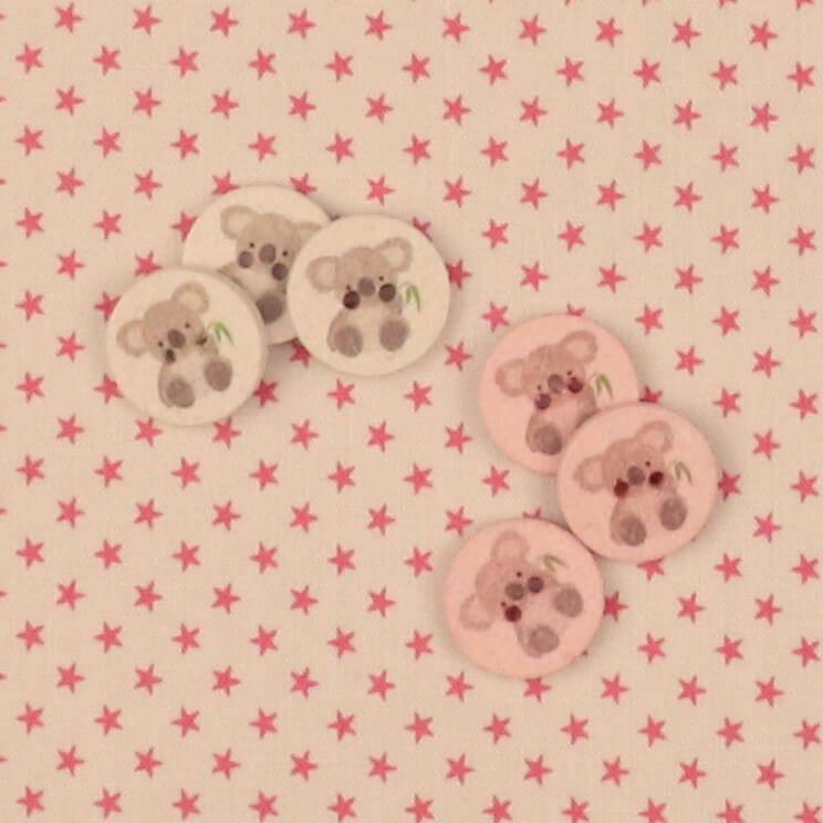 Pink stjerner på offwhite bund - Patchwork -