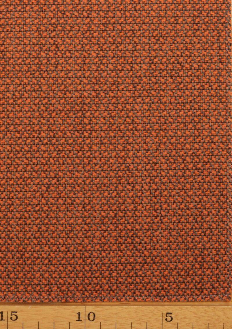 Mandarin/lys brun møbelstof - Uld/polyester -