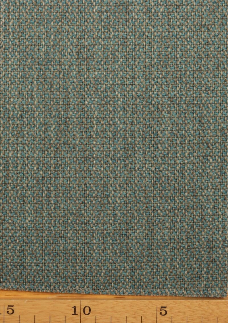 Turkis/lysgrå møbelstof - Uld/polyester -