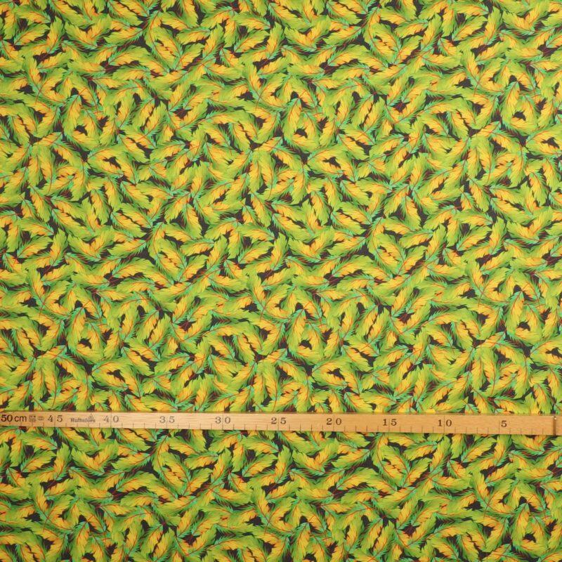 Fjer, grøn/gul - Patchwork -
