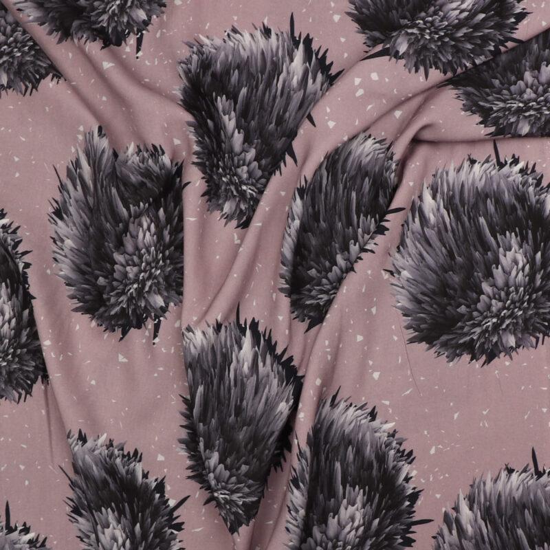 "Lys lavendel m. store ""blomster"" - Viskose -"