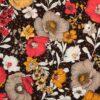 Storblomstret på sort - Rayon/polyester -