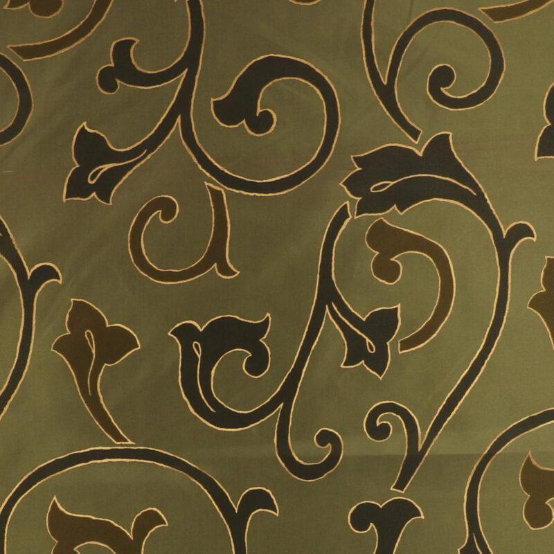 Olivengrøn m. snirklet mønster - Bade/bruseforhæng -