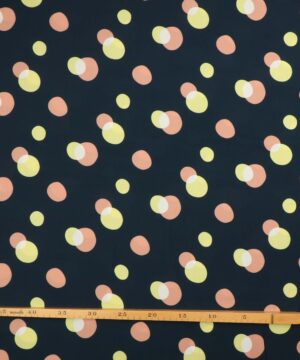 Cirkler på mørkeblå bundfarve - Viskose -