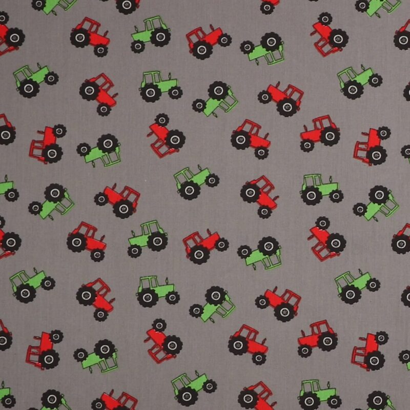 Rød og grøn traktor på grå - Let bomuld -